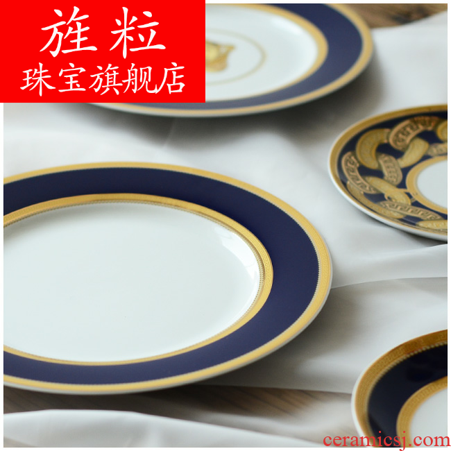 Continuous grain of jiangnan life pattern ceramic tableware a classic dish dish dish beefsteak disc pro western blue plate