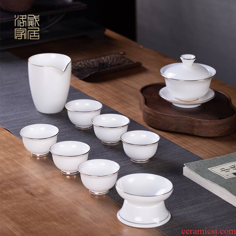 Blower, jingdezhen ceramic tureen fair keller cup high - grade white porcelain tea bowl household kung fu tea set