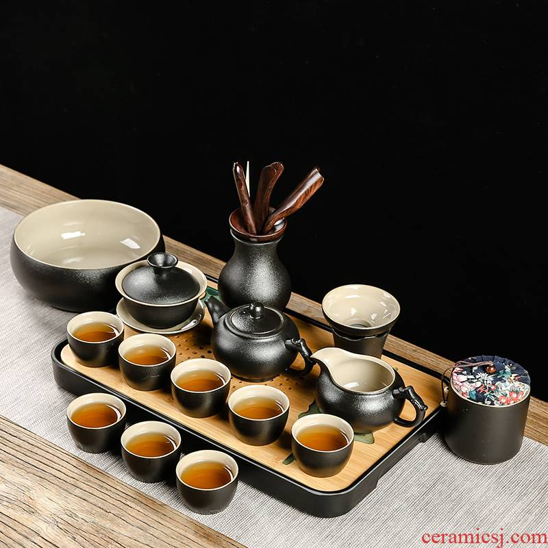 Black ceramic kung fu bo yao zen tea set the home office of a complete set of tea teapot teacup GaiWanCha plate