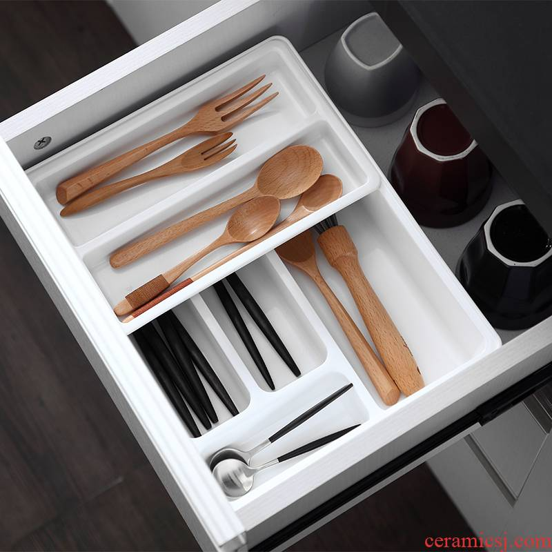 Receive a case the kitchen drawer senseyo pull basket chopsticks separated box of knife and fork tableware shelf storage box