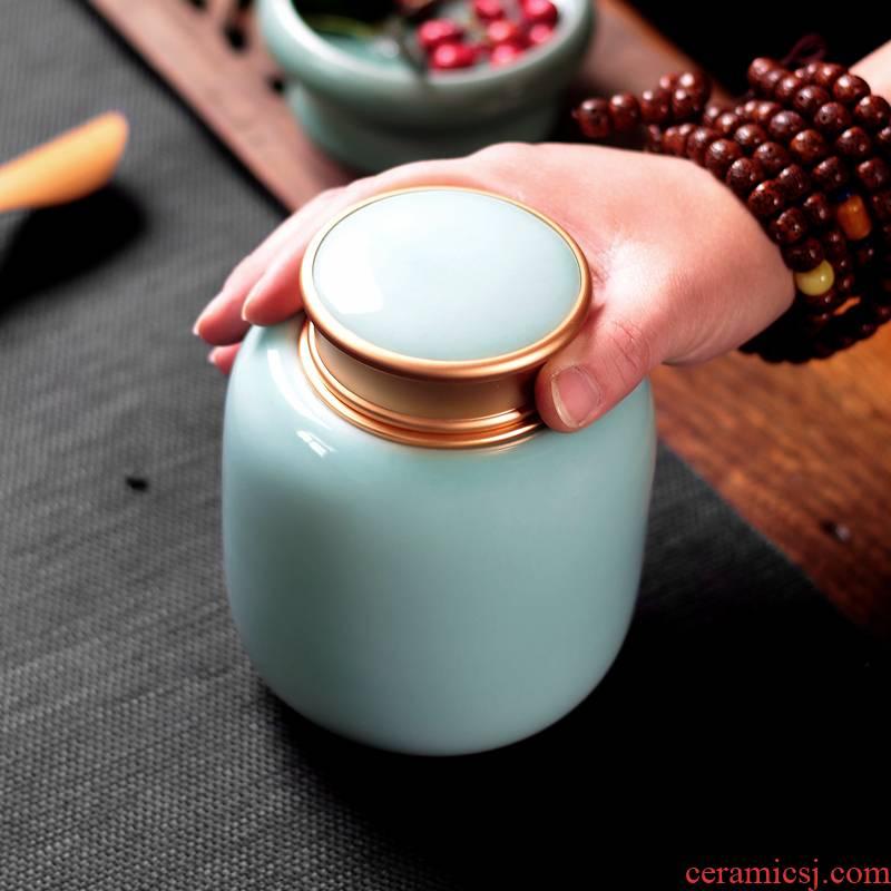 Tea pu 'er Tea as cans ceramic metal portable home longquan celadon porcelain jar sealing large Tea POTS