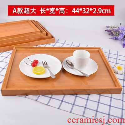 Bamboo tray rectangle Japanese tea tray pallet barbecue roast legs of lamb, lamb chop cups whole lamb dish of bread plate