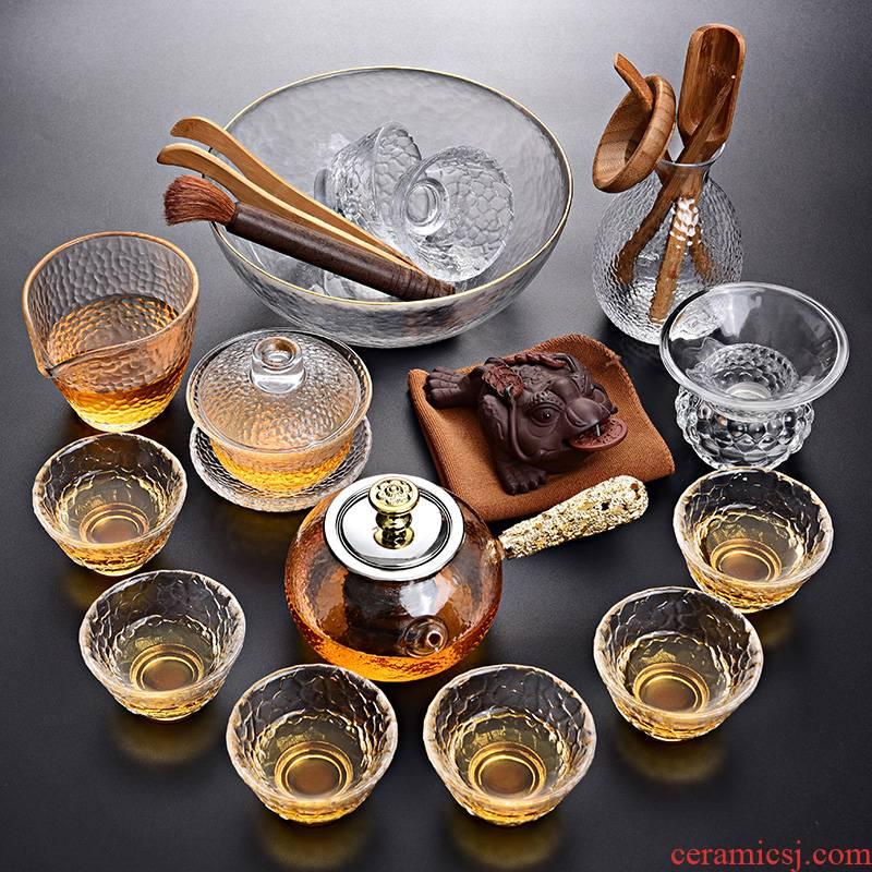 Tao blessing glass kung fu tea set home a whole set of heat - resistant glass teapot teacup tea tea set
