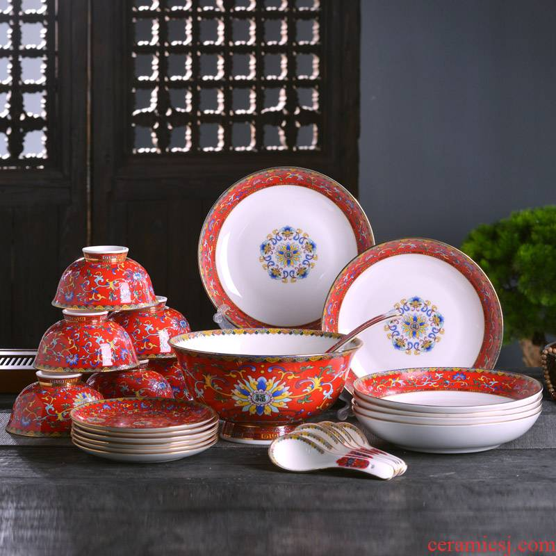 Jingdezhen ceramic colored enamel tableware bowls plates spoon combination suit Chinese style household rice bowls rainbow such as bowl slag of plates