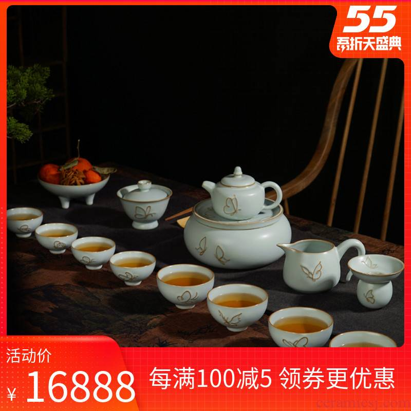 Green already your up kung fu tea set a suit of a complete set of Chinese style household ceramics gift boxes archaize porcelain of song dynasty ore glaze