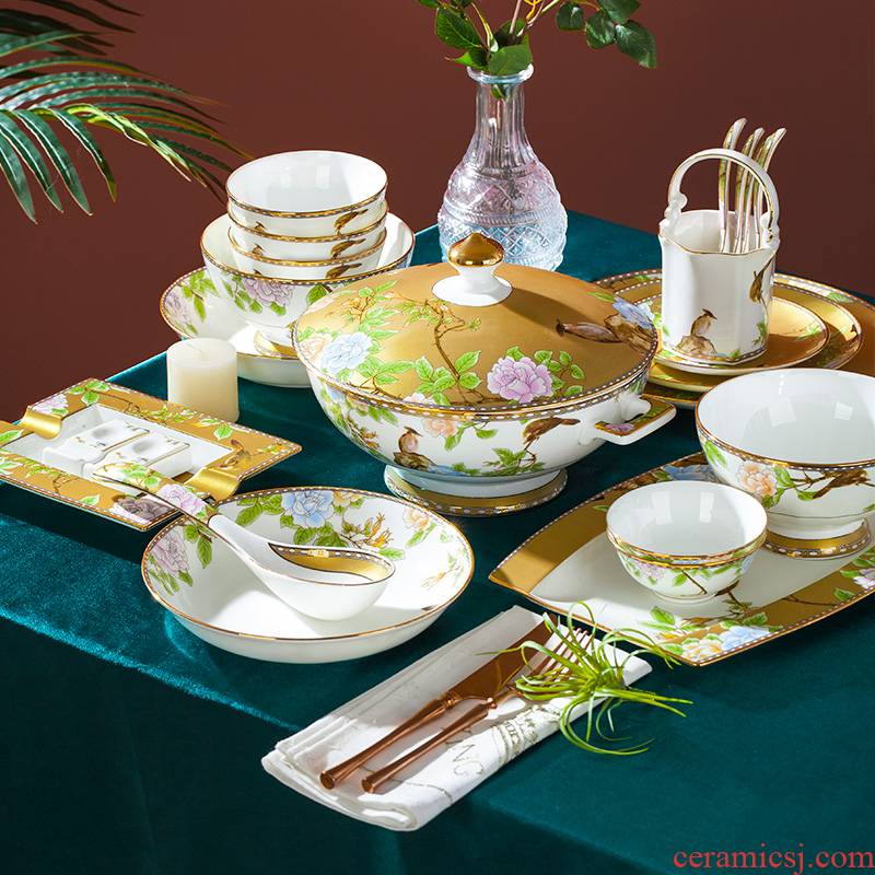 Blower, jingdezhen ceramic tableware suit light dishes to use Chinese wind high - end key-2 luxury ceramics dishes