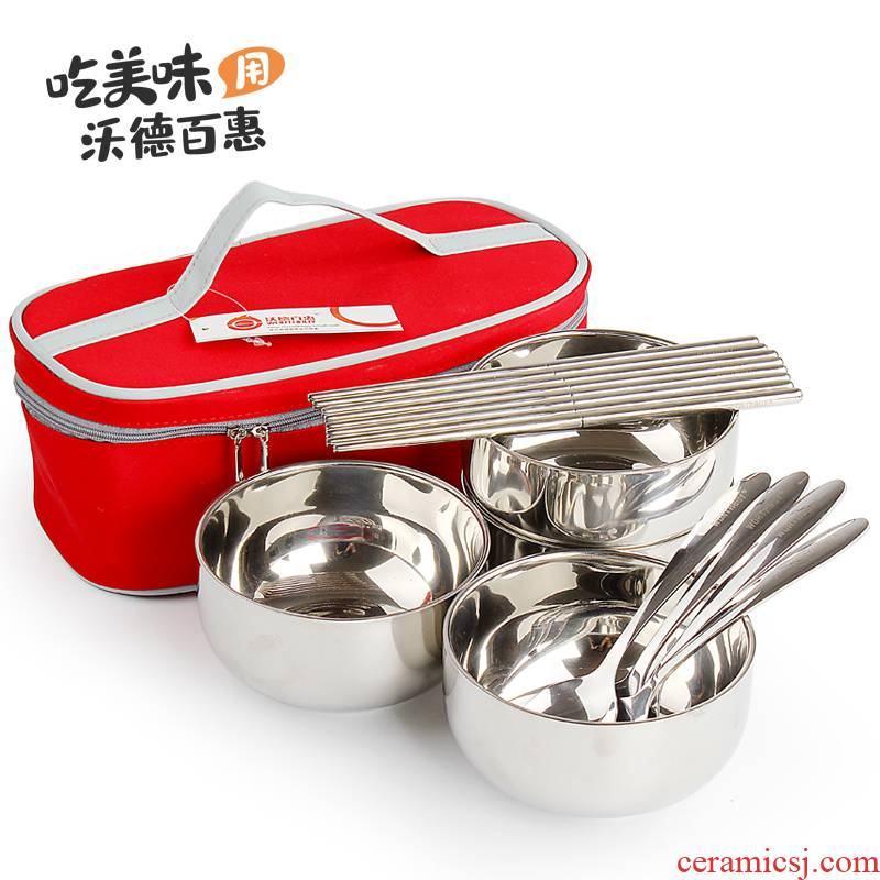 Ward (household stainless steel bowl suit restore ancient ways of eating food family dishes soup bowl spoon, chopsticks Japanese rice bowls