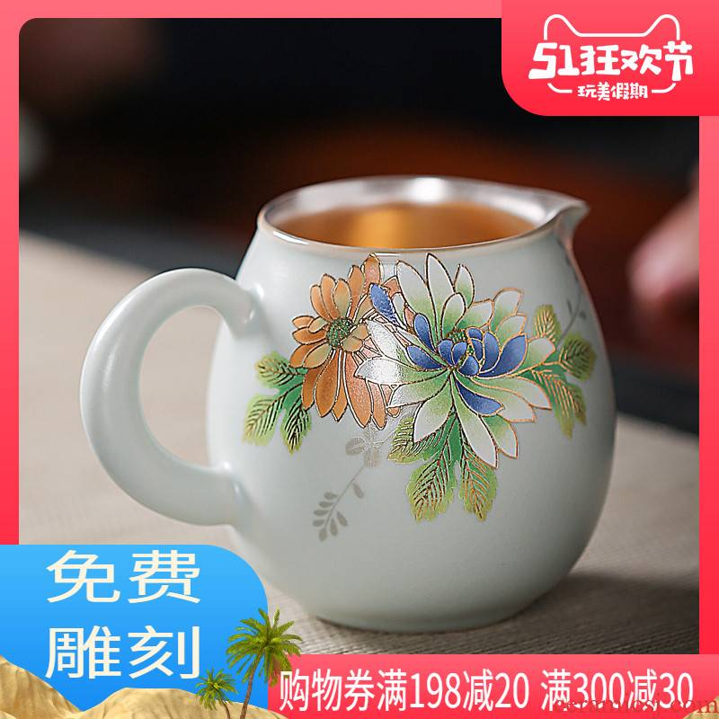 To heat your up tasted silver gilding silver 999 kung fu tea tea tea fair keller, ceramic household tea accessories