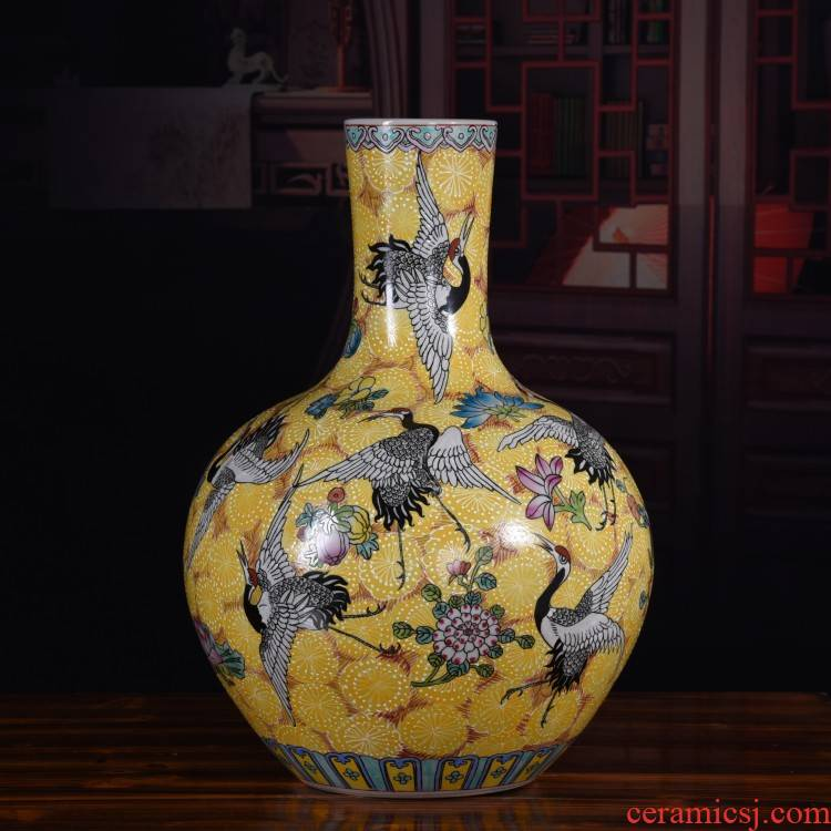 Archaize ceramic hand - made the reign of qianlong pastel cranes vase feng shui collection home decoration crafts are classical to ward off bad luck