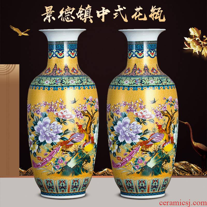 Jingdezhen ceramics colored enamel furnishing articles sitting room of large vase flower arranging Chinese style household adornment TV ark