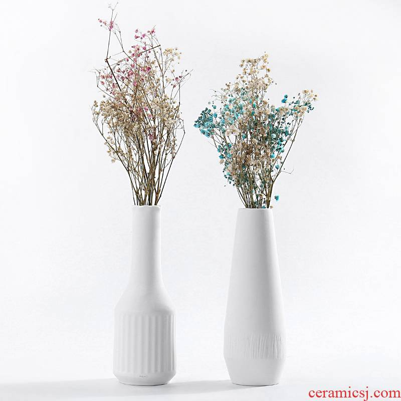 Large white all over the sky star fashion vase dry flower creative living room office decoration ceramics handicraft furnishing articles