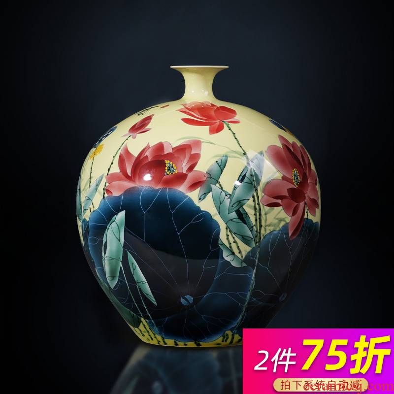 Jingdezhen ceramic vase hand - made lotus pomegranate furnishing articles sitting room of the new Chinese style household adornment porcelain bottle bottle