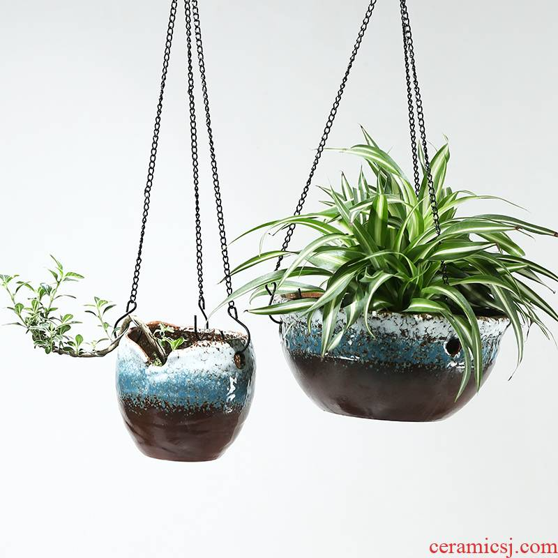 Creative hanging hanging POTS of meat the plants more lover tears ivy money plant sitting room balcony hanging pot ceramics