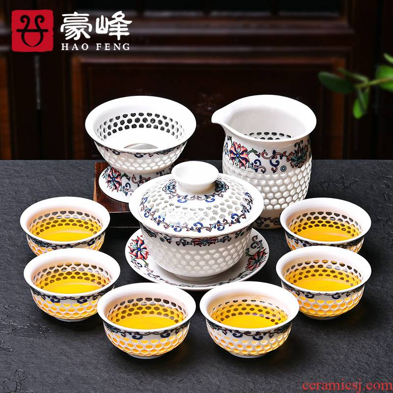 HaoFeng exquisite hollow out of the blue and white porcelain ceramic gifts kung fu tea set crystal honeycomb tureen tea cups of a complete set of the teapot