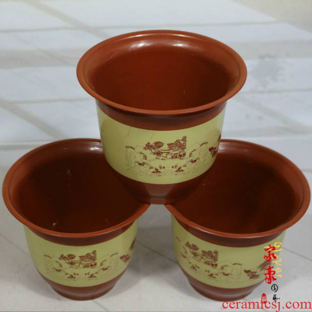 Flowerpot special large plastic imitation ceramic round upset extra large household balcony is special clearance package mail