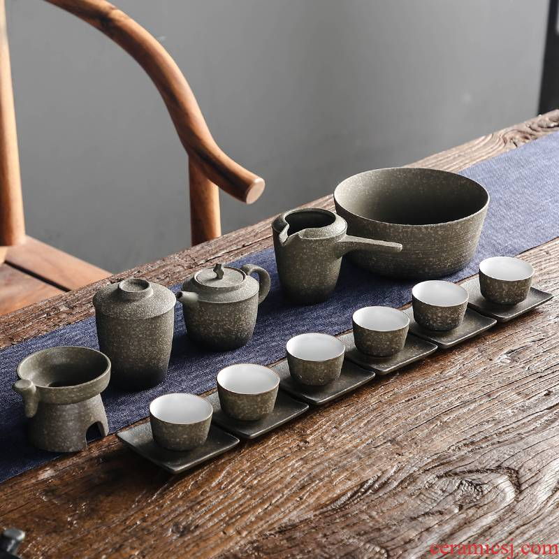 Bo yiu-chee coarse pottery kung fu tea set suit Japanese contracted household ceramic teapot teacup tea wash cup mat of a complete set of