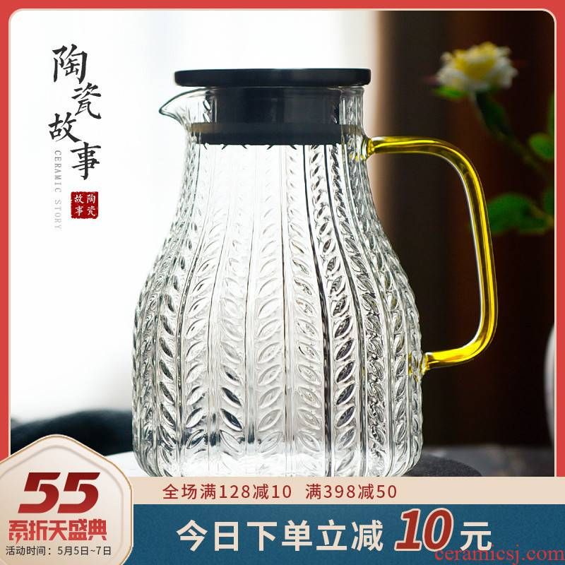 Glass ceramic story cold water kettle high - temperature creative household Nordic wheat grain cold boiled water kettle suits for