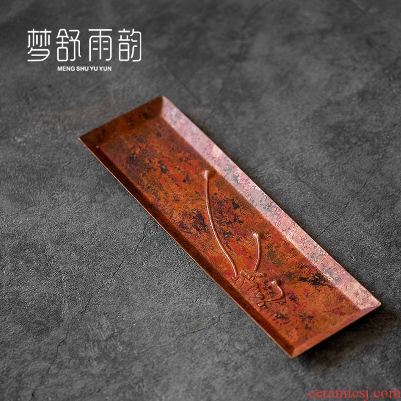 Dream ShuYu rhyme pure copper tea tray was antique checking household dry terms tray tea contracted a rectangle tea taking