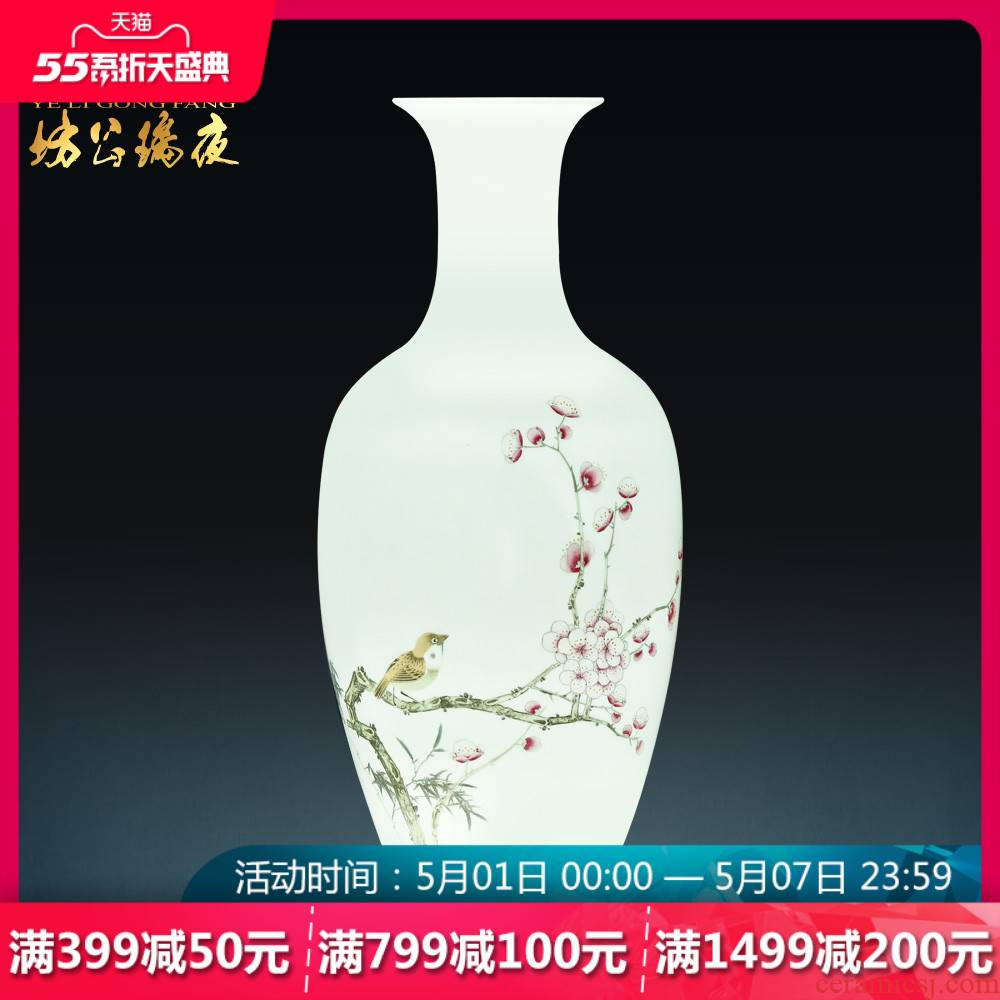 Jingdezhen ceramics flower arranging hand - made the name plum and the bamboo harbinger vases, new Chinese style porch place TV ark, adornment