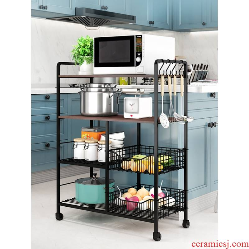 Edge lodge vegetable rack shelf floor kitchen stainless steel multi - layer household tableware store receive the popurality of microwave oven