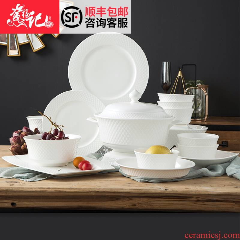 Chopsticks sets of household contracted European dishes combination tableware custom dishes under the pure white glaze color western - style food tableware