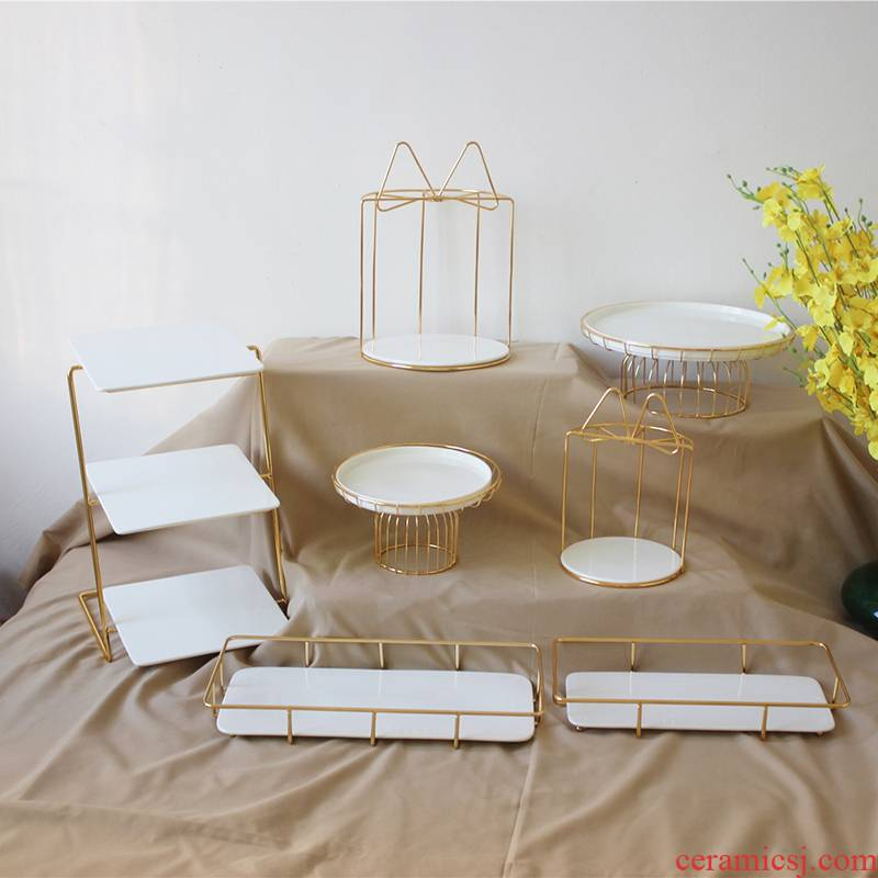 Golden dessert cake machine rack suits for three snacks a decorative ceramic compote birthday cake tray was iron
