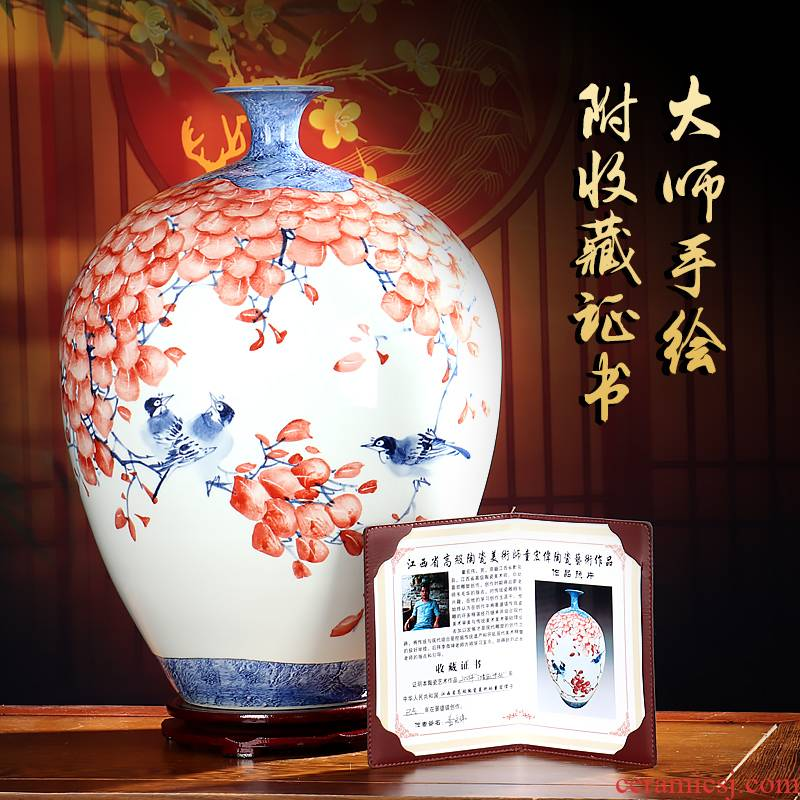 Master hand - made vases furnishing articles of jingdezhen ceramics flower arranging dried flowers sitting room manual home decoration arts and crafts