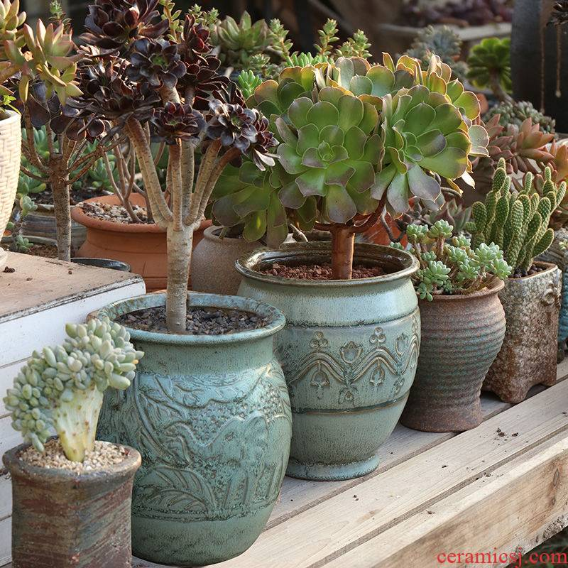 Mage old high flowerpot oversized flowerpot more than meat meat meat plant POTS creative Europe type restoring ancient ways