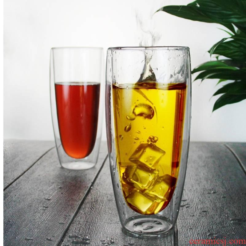 Royal pure high borosilicate double deck glass tea coffee juice glass tea set