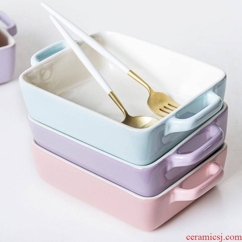 Home baked porcelain ears baking oven use cheese baked FanPan pasta dishes dedicated microwave baking bowl