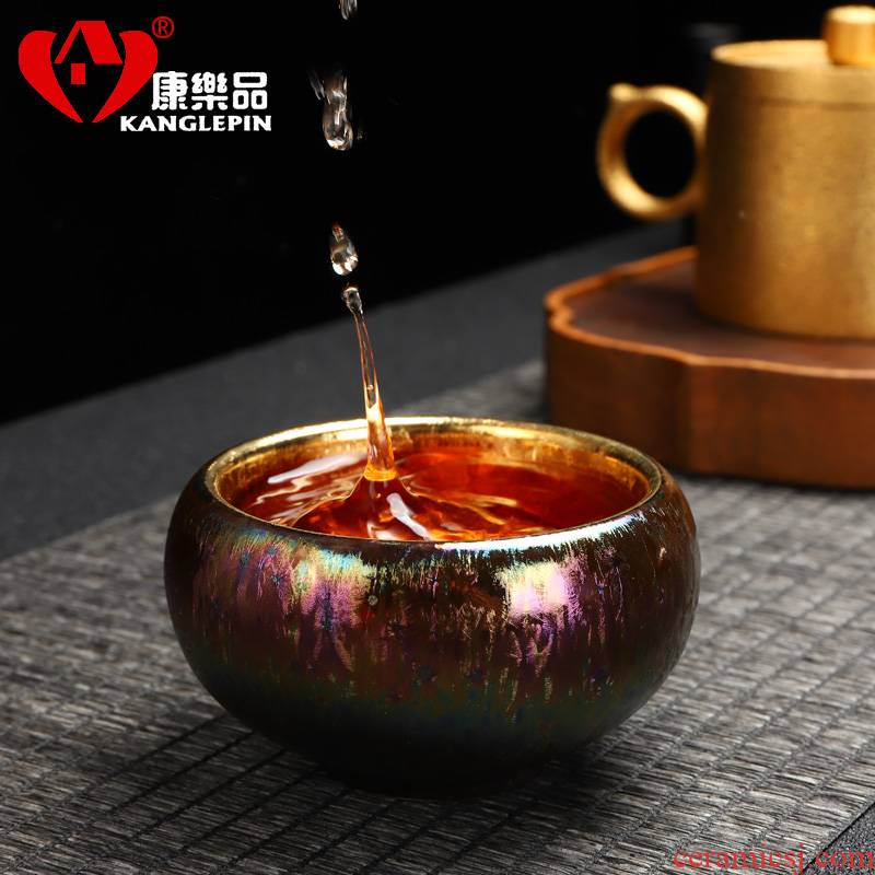 Recreation article 24 k gold checking ceramic cups kung fu sample tea cup colorful building light golden oil droplets master cup single CPU