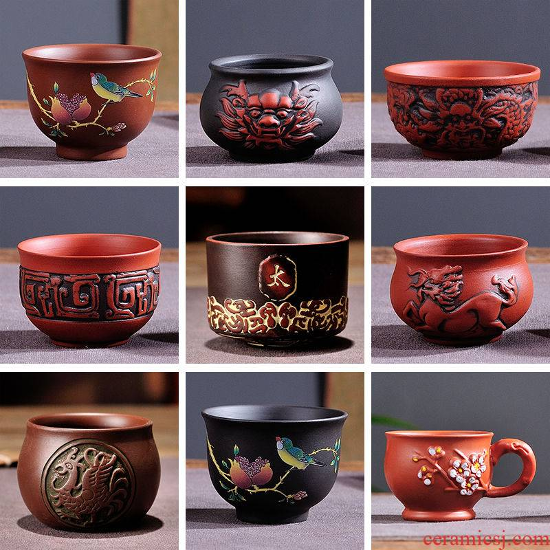 Yixing purple sand general zhu mud sample tea cup a cup of tea cup bronze cup big reversed koubei master cup kung fu tea cups