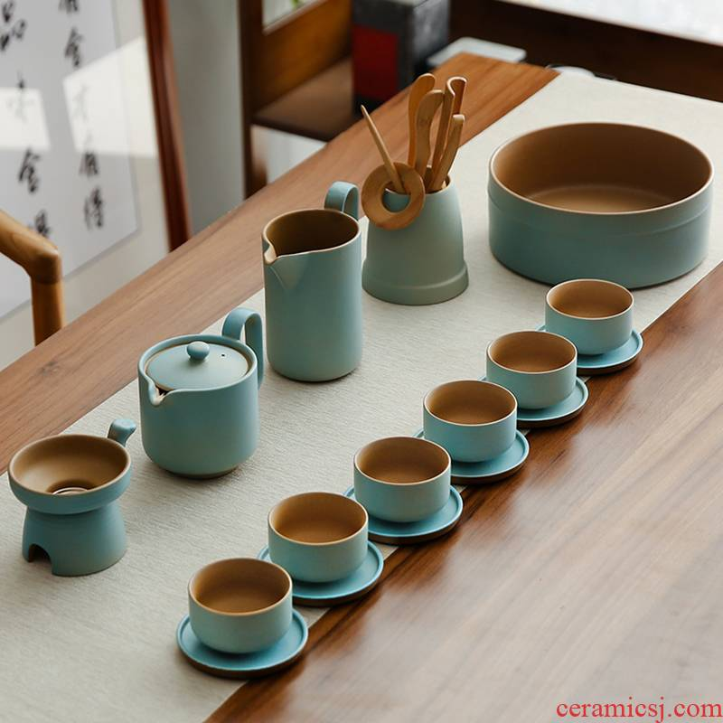 Bo yiu-chee Japanese coarse pottery household kung fu tea set office ceramic contracted the teapot teacup whole teapot