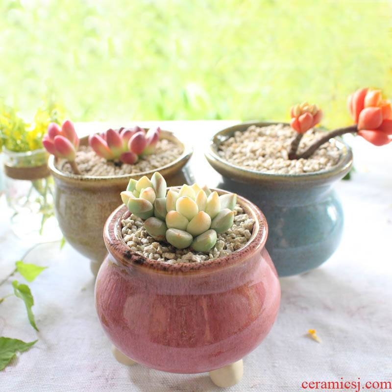 Fleshy flower pot through pockets ceramic simple variable square round new balcony meat meat the plants potted flower pot