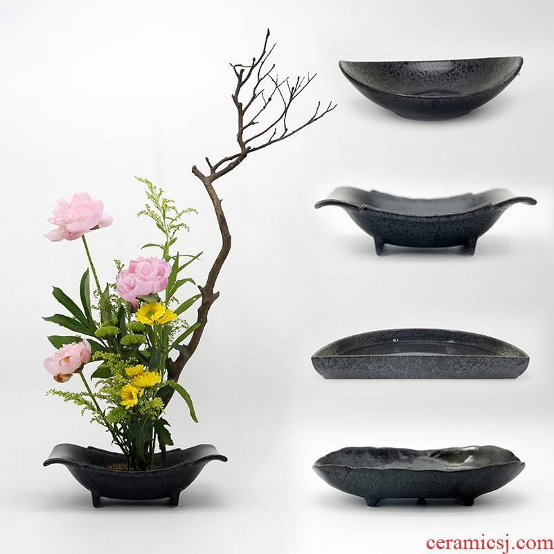 Zen flowerpot flower implement jian mountain flower arranging exchanger with the ceramics ancient Chinese flower arranging vessel Japanese ikebana small what liuhua plate