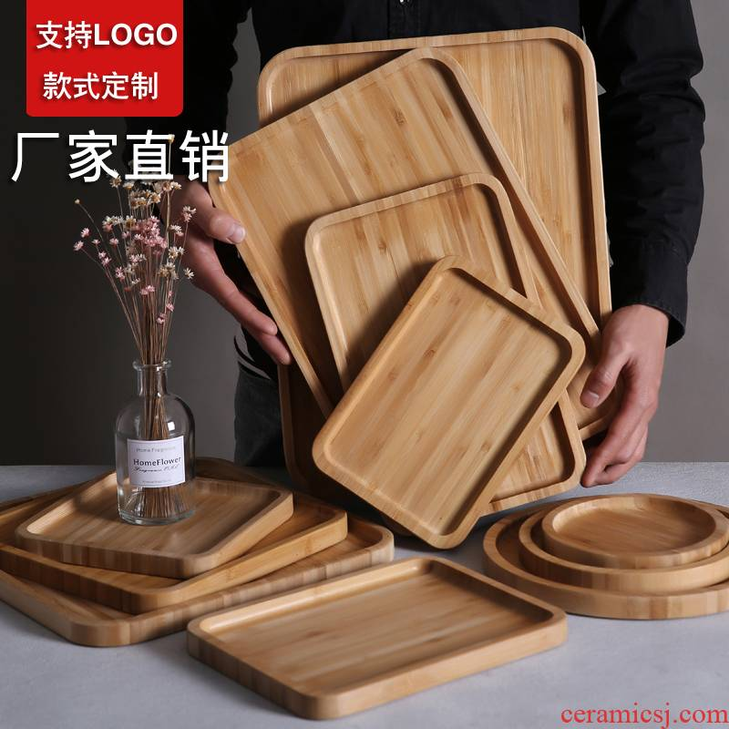 Bamboo wood pallet wood for rectangular Bamboo plate disc tea tray, wood tray barbecue snack cake wooden tray