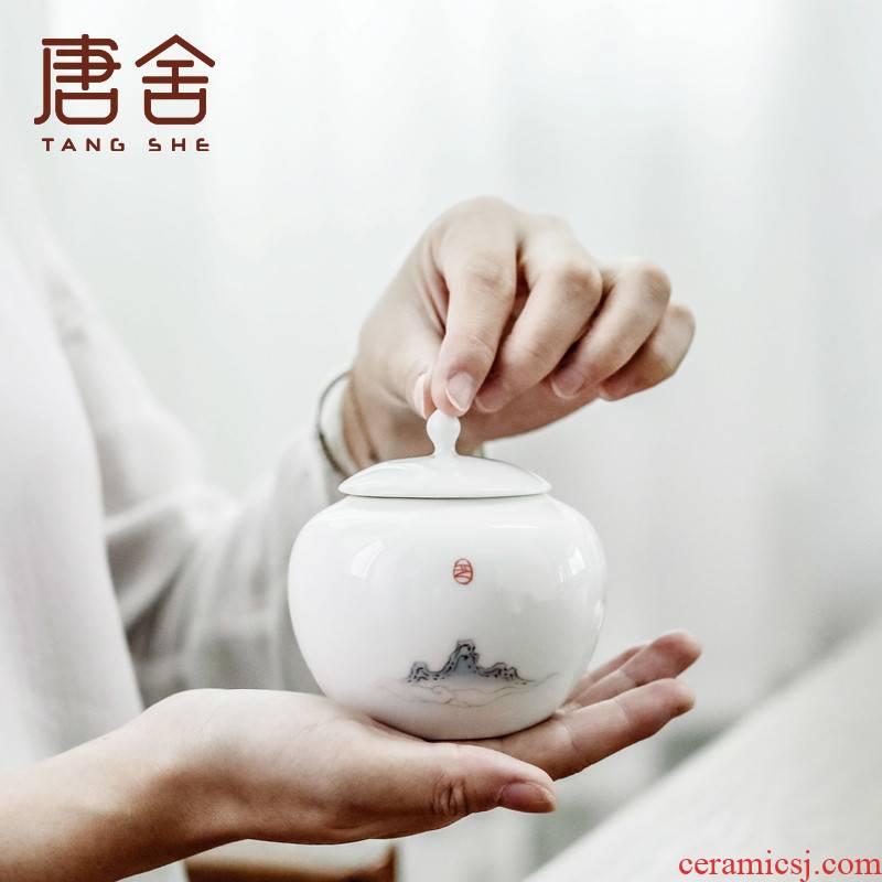 Green tea caddy fixings shed li jiang tang, camellia storehouse ceramics small mini portable home tea storage sealed as cans