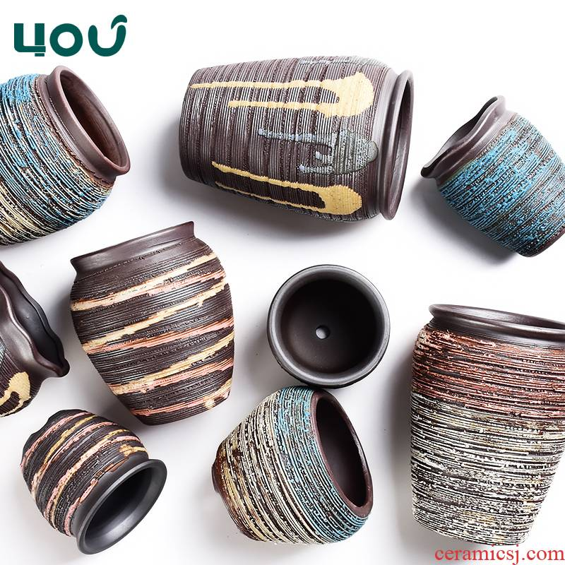 Fleshy flower - pot purple ceramic pottery large clearance creative meat meat plant orchid move red mud clay POTS