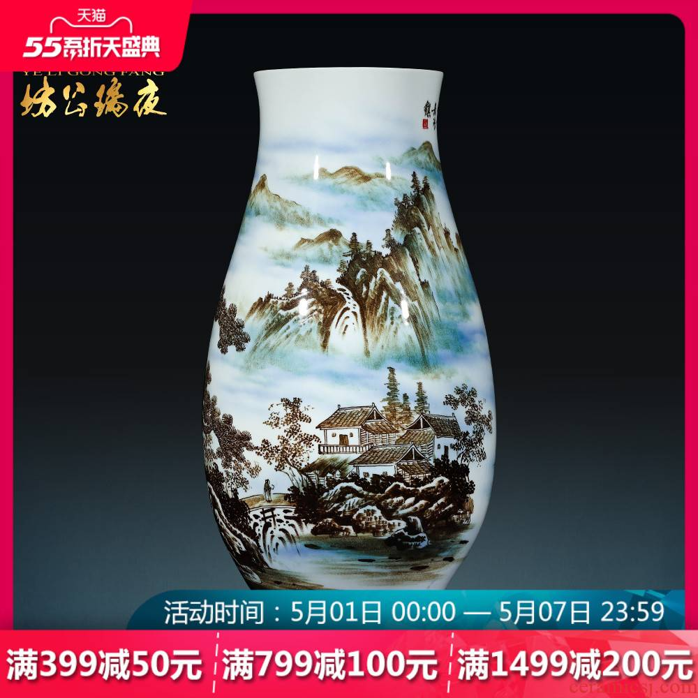 Jingdezhen ceramics vase furnishing articles by hand - made scenery songshan fishing implicit Chinese vase sitting room adornment