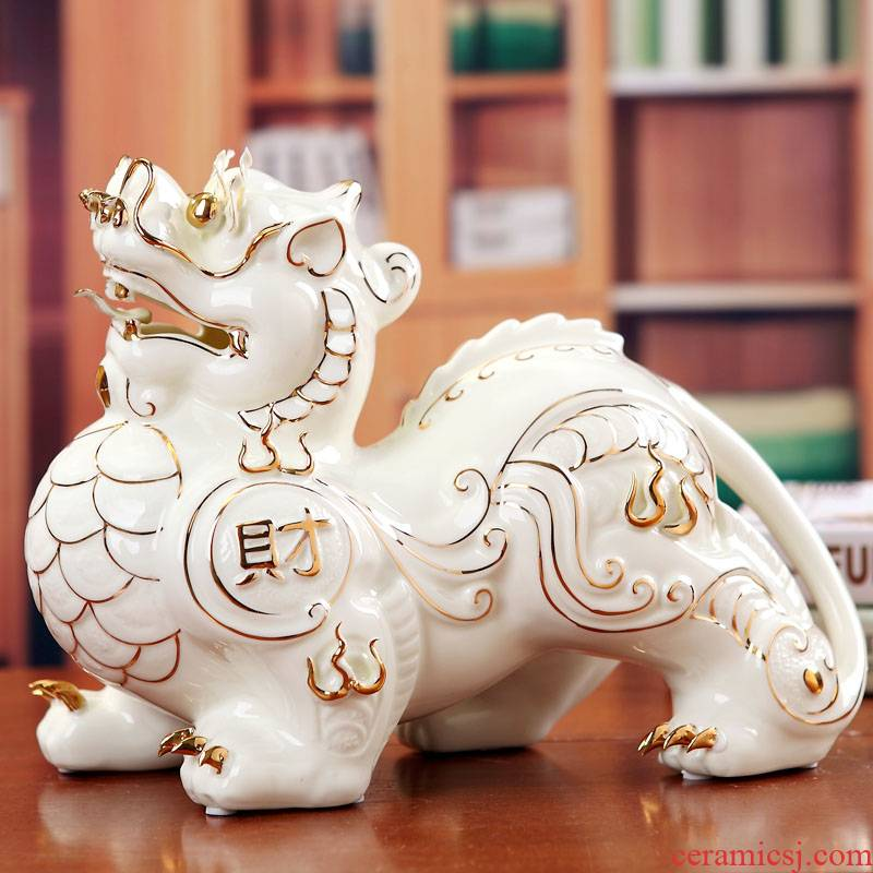 Ceramic kirin furnishing articles lucky town house to ward off bad luck and fortune home decoration decoration is feng shui office desk crafts
