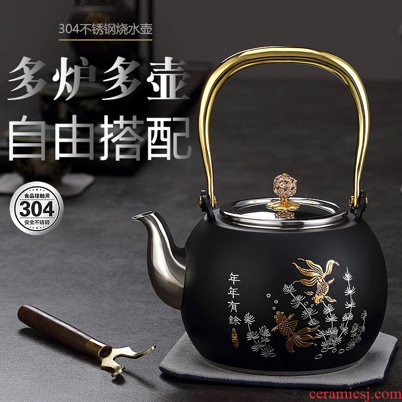 Morning high 304 stainless steel kettle teapot household electrical TaoLu cook large kunfu tea KaiShuiHu kettle