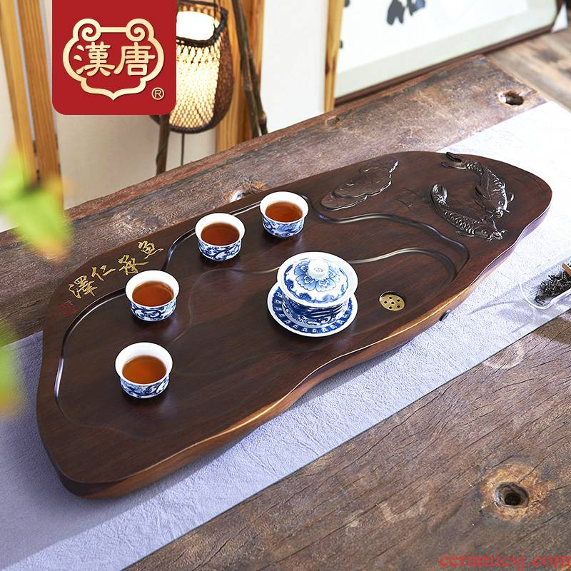 The whole piece of solid wood tea tray was han fish ChengRenZe home ground log tea table, black rosewood carving kung fu tea tea set