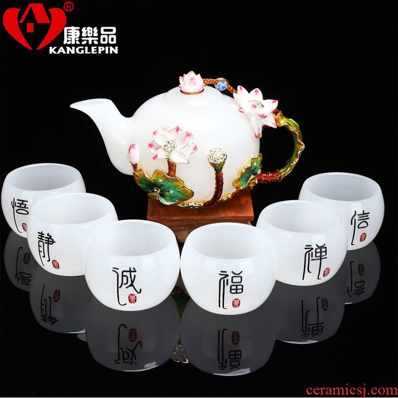 Recreational product gift jade colored enamel porcelain kung fu tea set household white porcelain cup teapot sample tea cup white jade