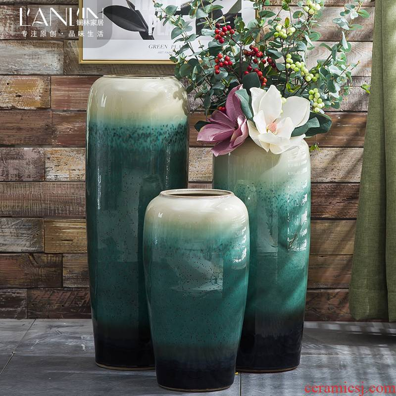European landing big ceramic vase sitting room of I and contracted hotels puts jingdezhen dried flower simulation flower vase