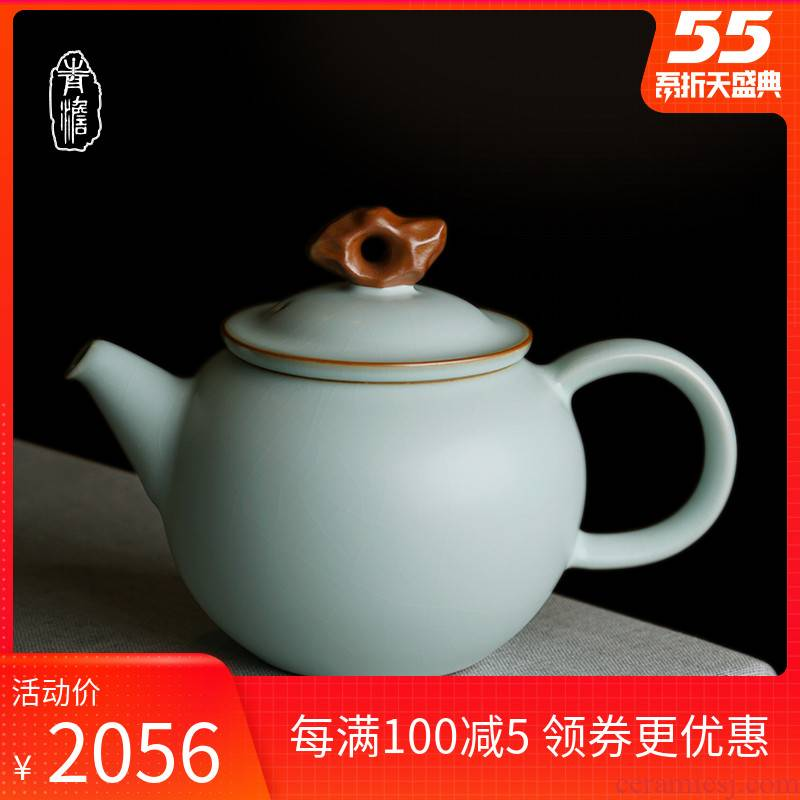 Hand your up household archaize of jingdezhen ceramic teapot single pot gift porcelain tea open piece of ice to crack glaze porcelain