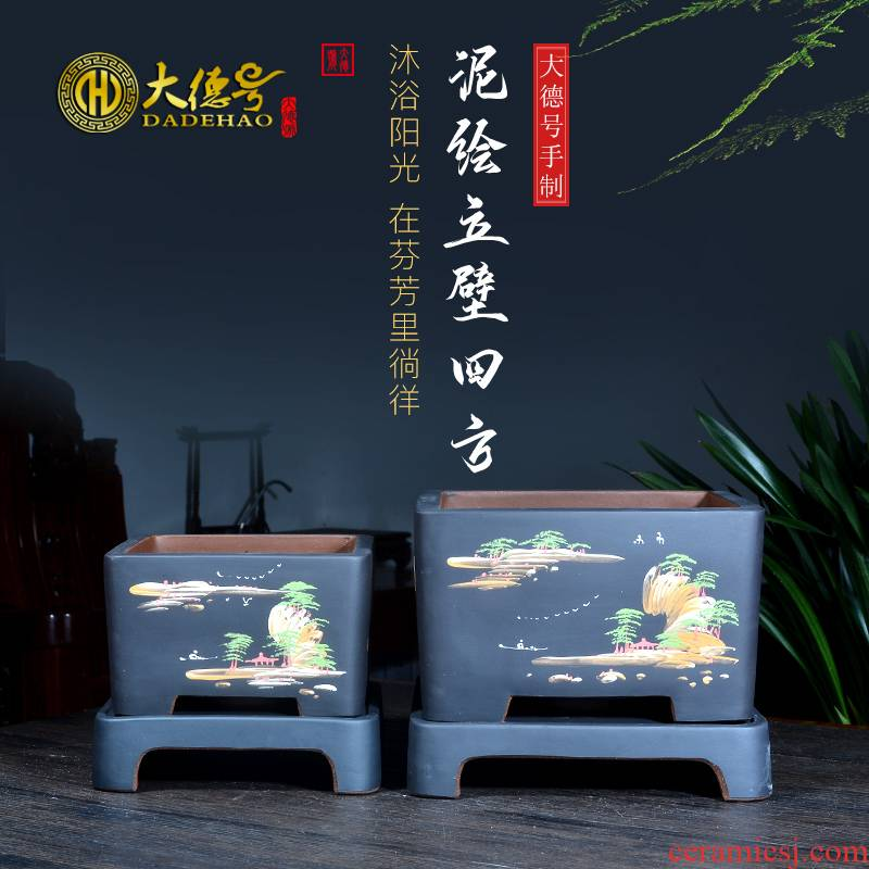 Greatness, yixing purple sand pottery and porcelain size flowerpot more than four square basin meat clivia mud painting special pot the plants