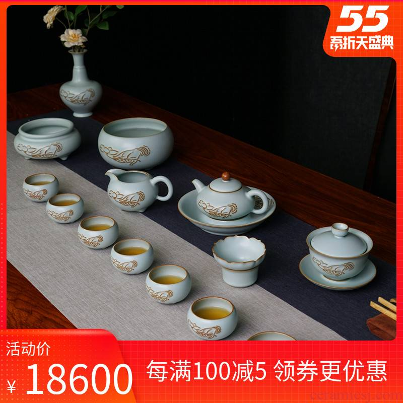 Green has already your up high - end tea set gift boxes jingdezhen checking retro gift set ceramic porcelain piece can keep open