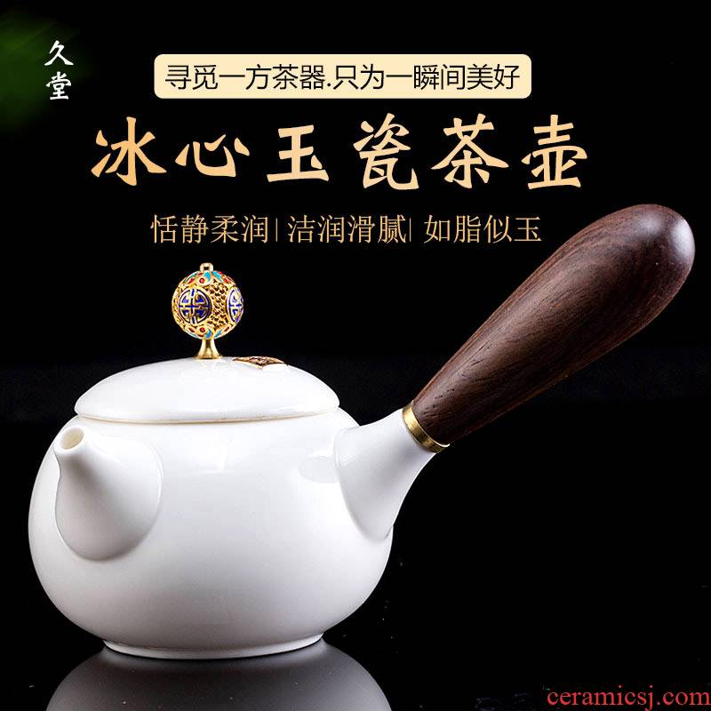 Morning suet jade teapot tea to implement high white porcelain tea set the see colour of jingdezhen wood side teapot kung fu tea set