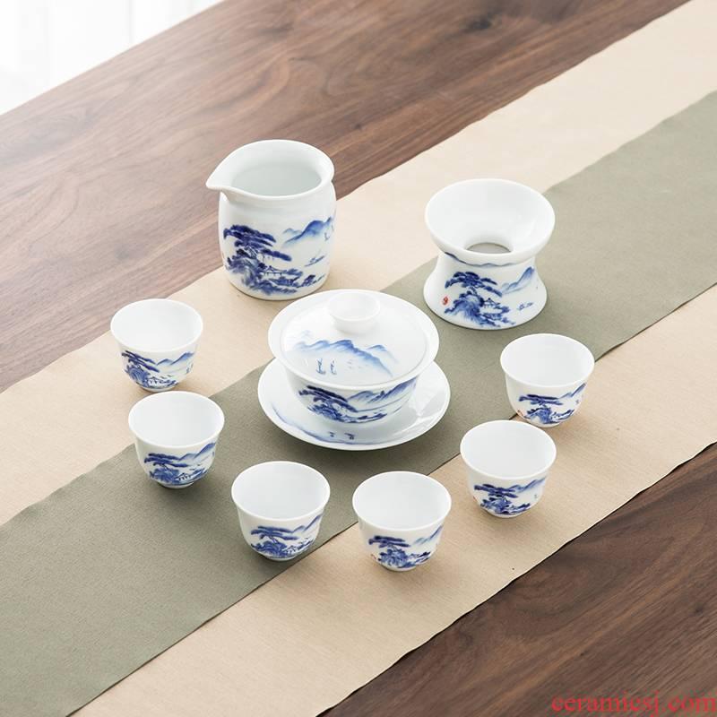 Qiu time Chinese jade porcelain landscape kung fu tea set household ceramic teapot tea cups of a complete set of gift set