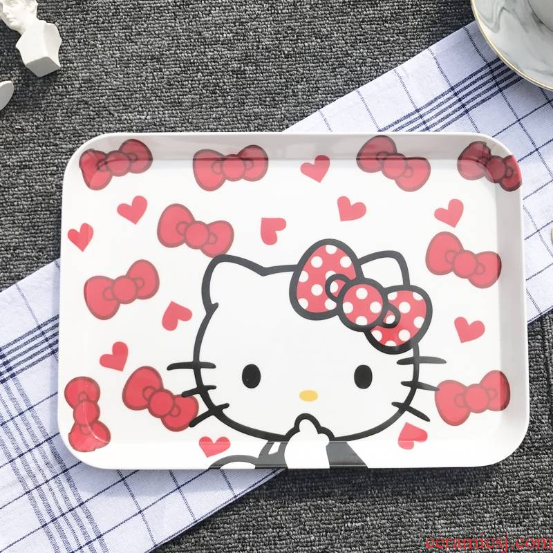 Cartoon cup tray rectangle Nordic buffet barbecue snacks tea tray of fruit melamine plate hot pot braised food tray